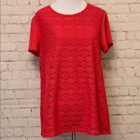 Northcrest Tops - Hot Pink Lace Front Short Sleeve Top.  NWT